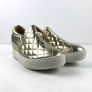 Wanted Brioches Gold Wedge Sneaker